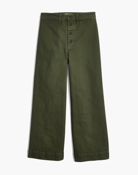 Tall Emmett Wide-Leg Crop Pants: Button-Front Edition in loden image 4