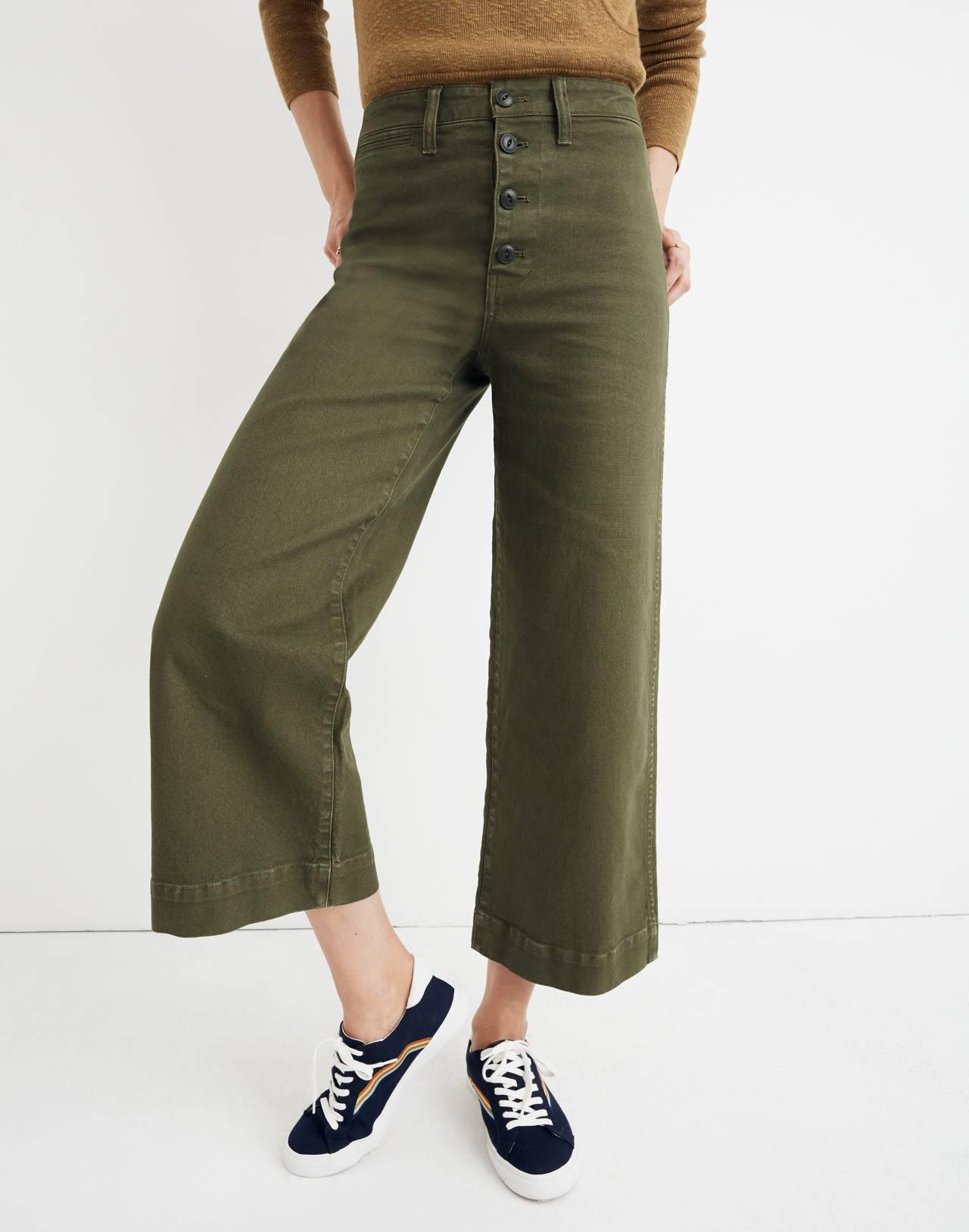 Emmett Wide-Leg Crop Pants: Button-Front Edition in loden image 1