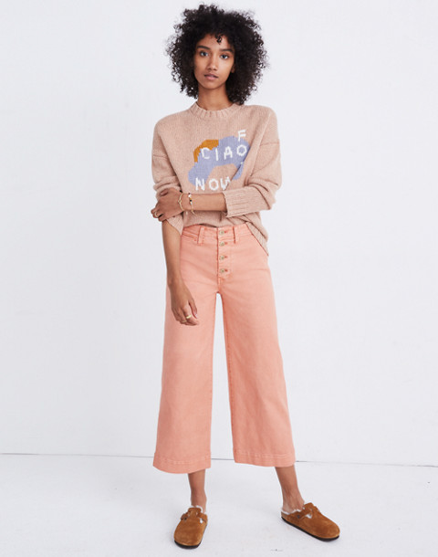 Tall Emmett Wide-Leg Crop Pants: Button-Front Edition in dried coral image 2