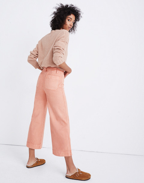 Tall Emmett Wide-Leg Crop Pants: Button-Front Edition in dried coral image 3