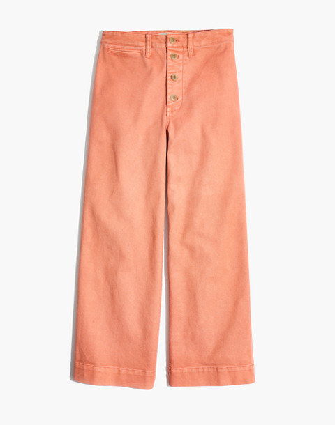 Tall Emmett Wide-Leg Crop Pants: Button-Front Edition in dried coral image 4