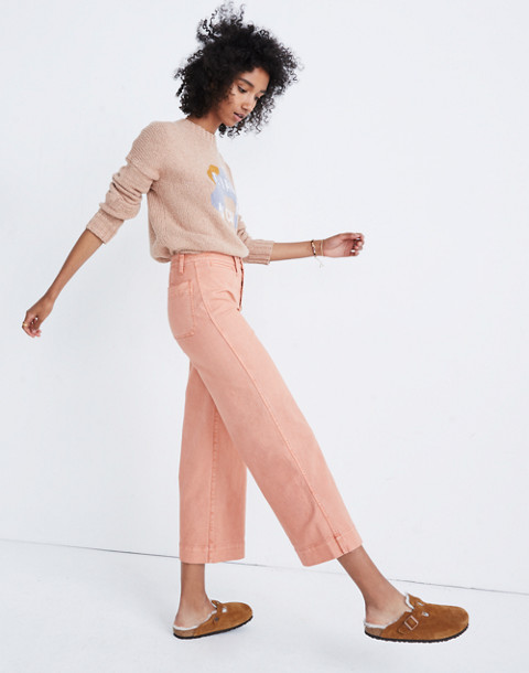 Tall Emmett Wide-Leg Crop Pants: Button-Front Edition in dried coral image 1