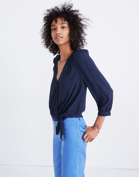 Wrap Top in Deep Indigo in deep indigo image 1