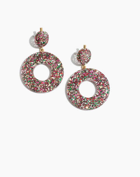 Circle Statement Earrings in multi glitter image 1