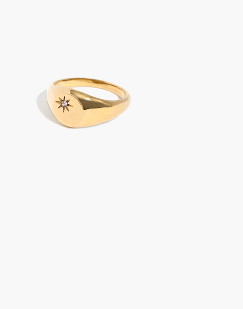 Spark Signet Ring in shiny gold image 1