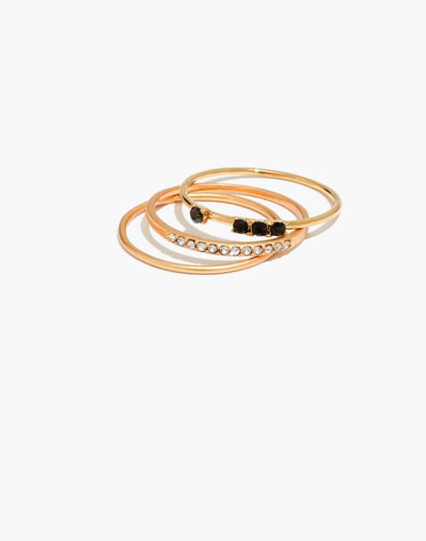 Delicate Pavé Stacking Ring Set in vintage gold image 1