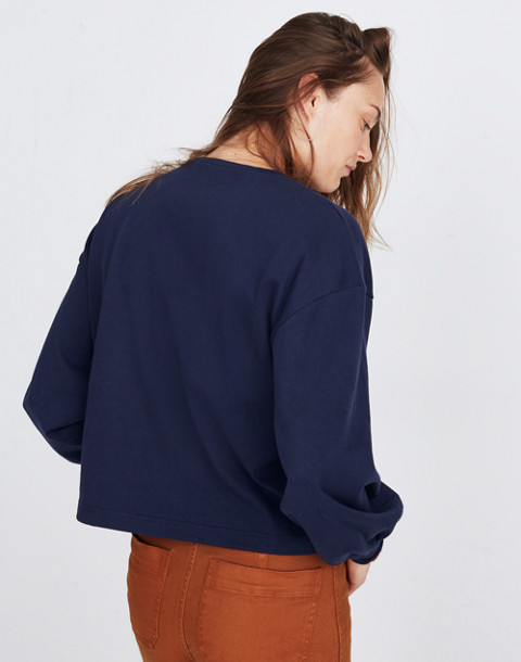 Chord Bubble-Sleeve Top in deep navy image 2