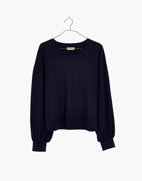 Chord Bubble-Sleeve Top in deep navy image 4