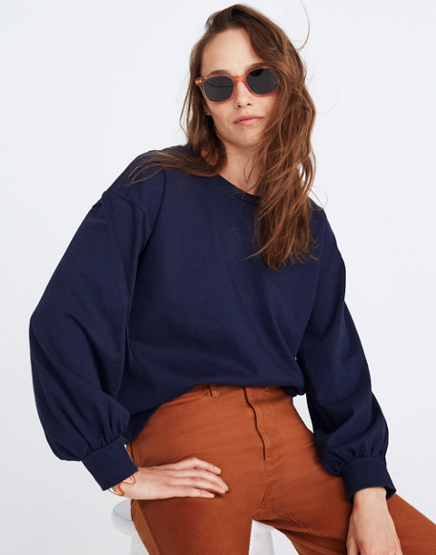 Chord Bubble-Sleeve Top in deep navy image 1