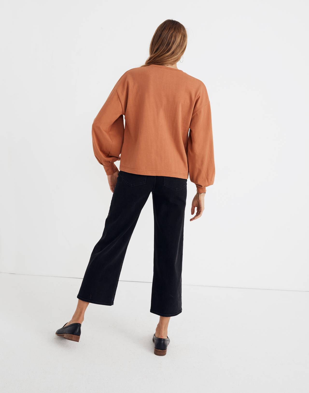 Chord Bubble-Sleeve Top in afterglow red image 3