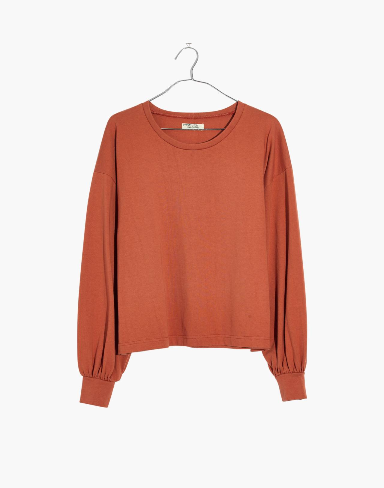 Chord Bubble-Sleeve Top in afterglow red image 4