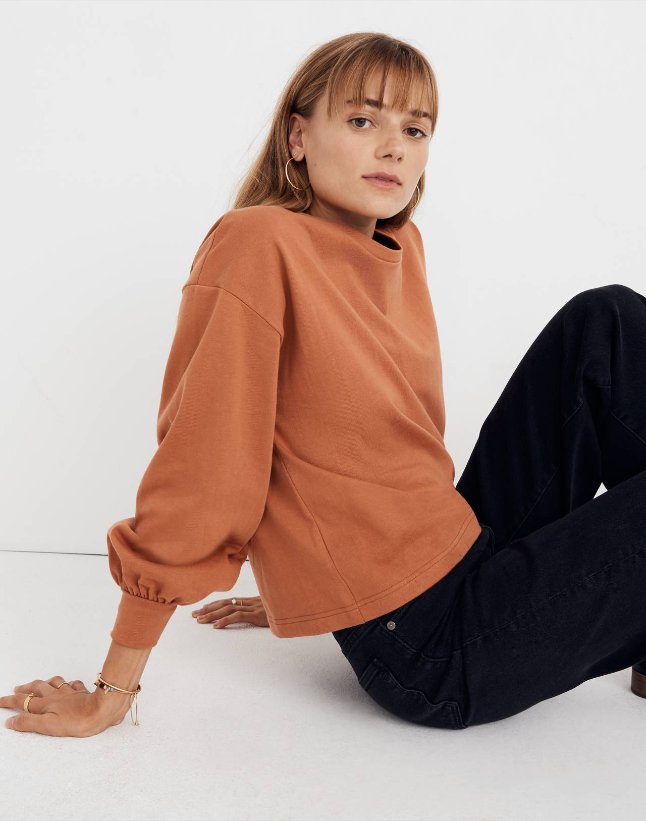 Chord Bubble-Sleeve Top in afterglow red image 1