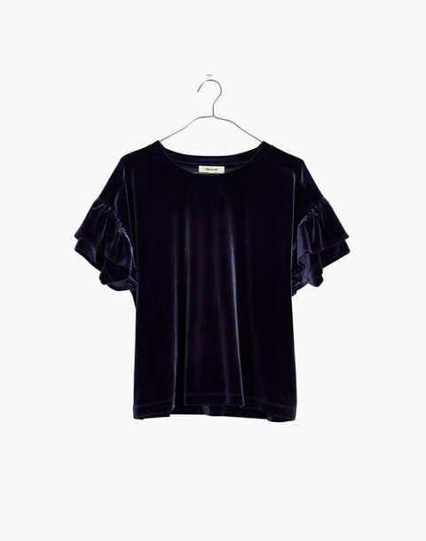 Velvet Ruffle-Sleeve Tee in nightfall image 4