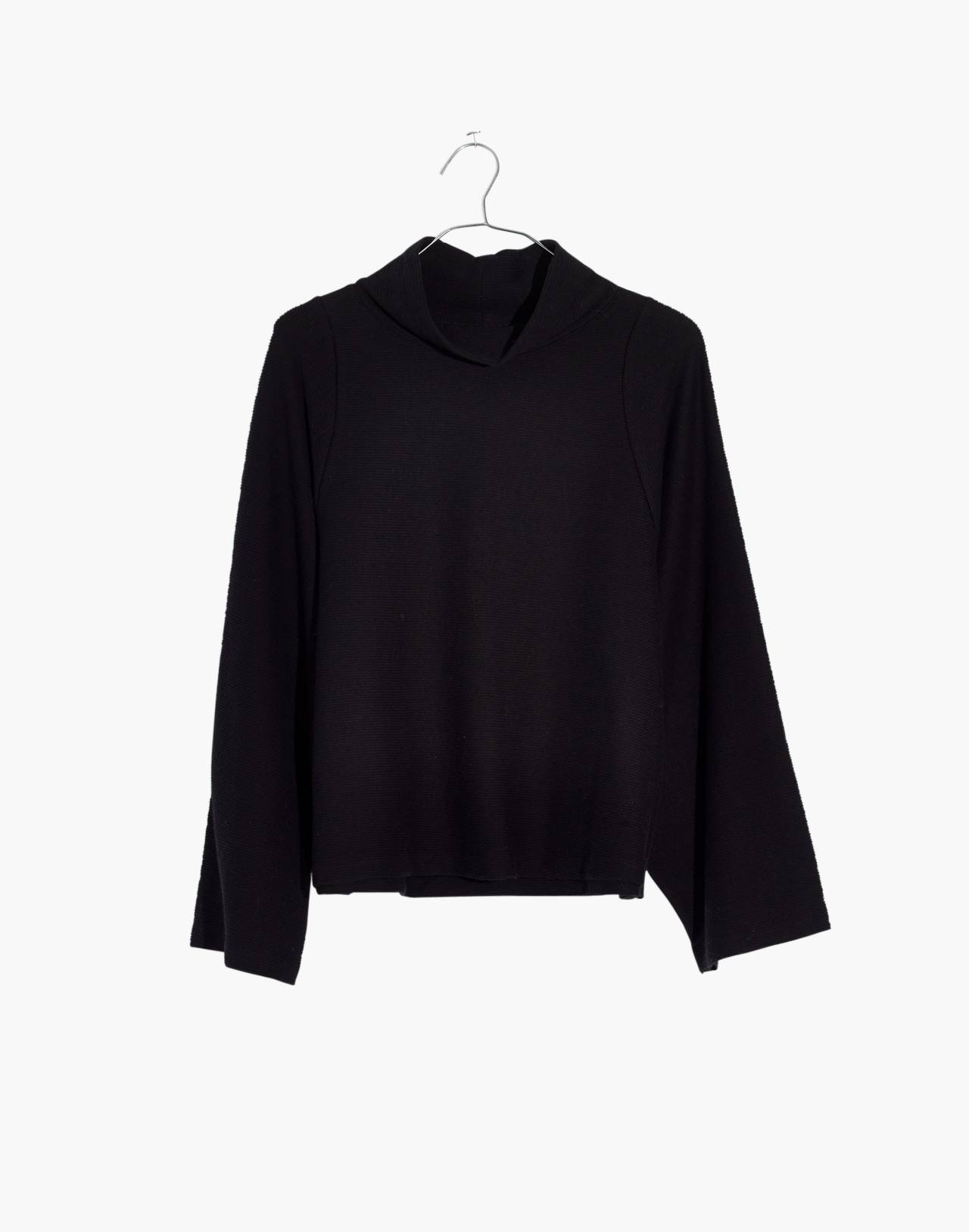 Texture & Thread Long-Sleeve Mockneck Top in true black image 1