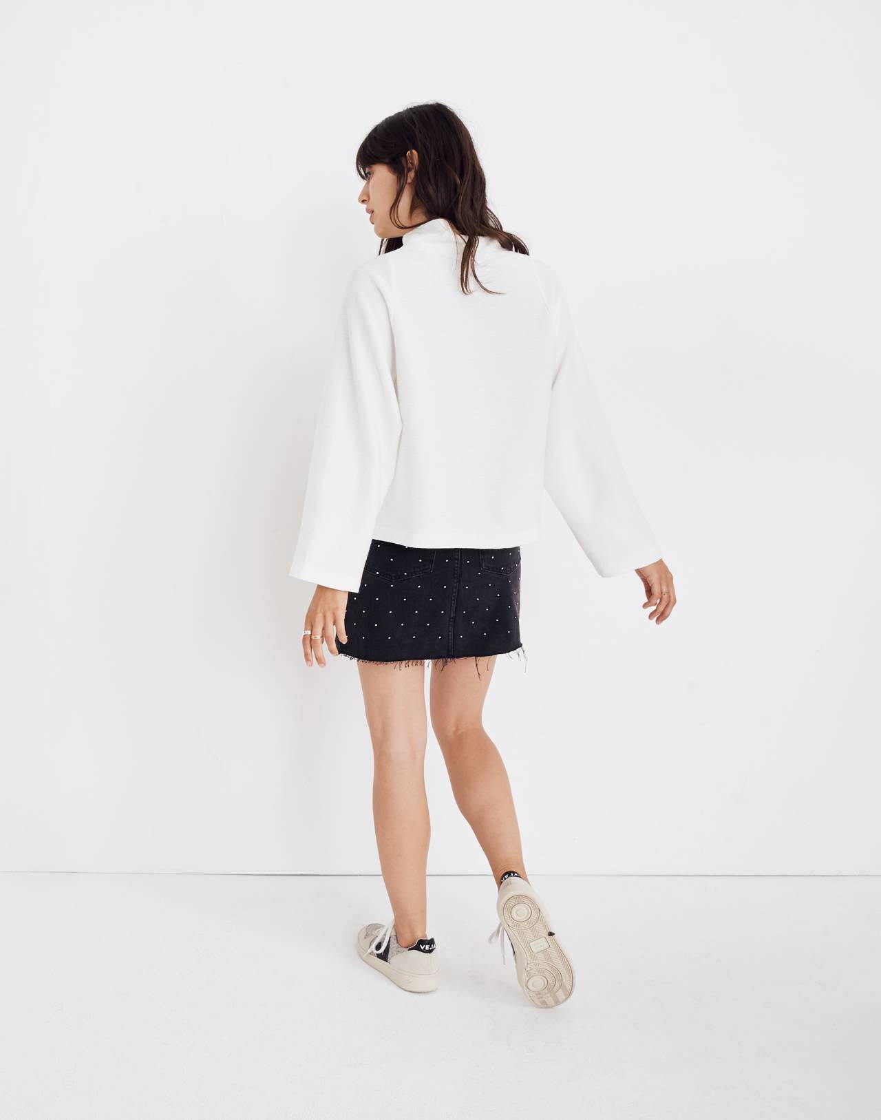 Texture & Thread Long-Sleeve Mockneck Top in bright ivory image 3