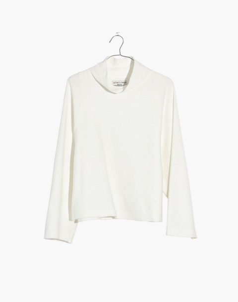 Texture & Thread Long-Sleeve Mockneck Top in bright ivory image 4