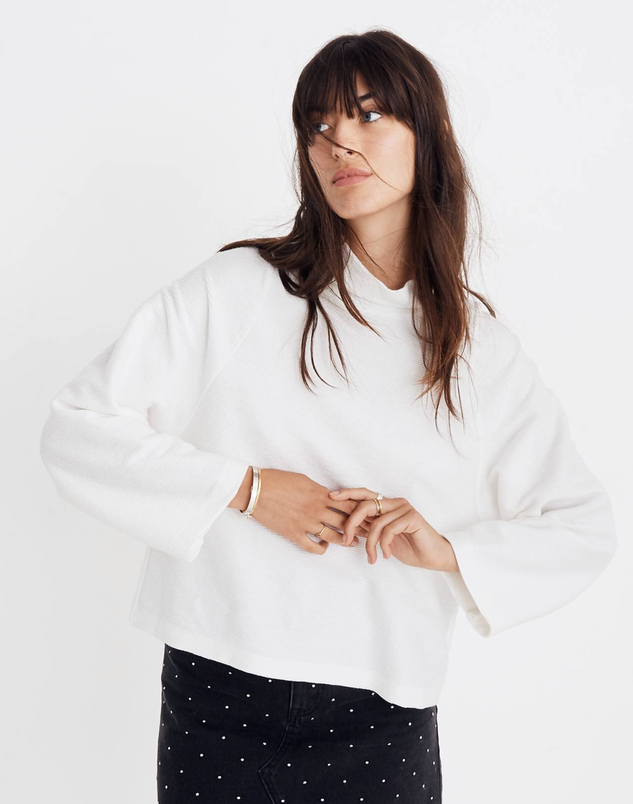 Texture & Thread Long-Sleeve Mockneck Top in bright ivory image 1