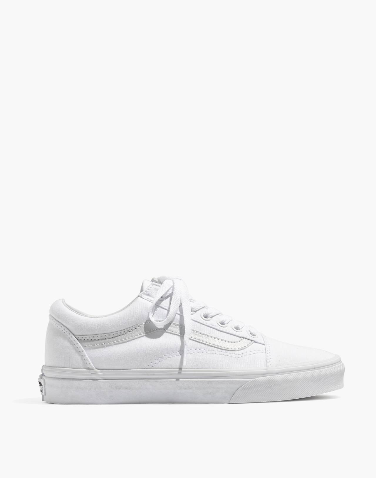 Vans® Unisex Old Skool Lace-Up Sneakers in Canvas and Suede in true white image 3