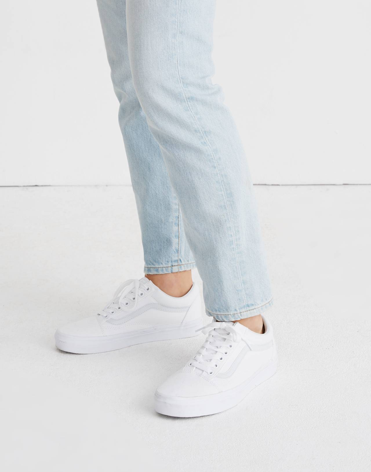 Vans® Unisex Old Skool Lace-Up Sneakers in Canvas and Suede in true white image 2