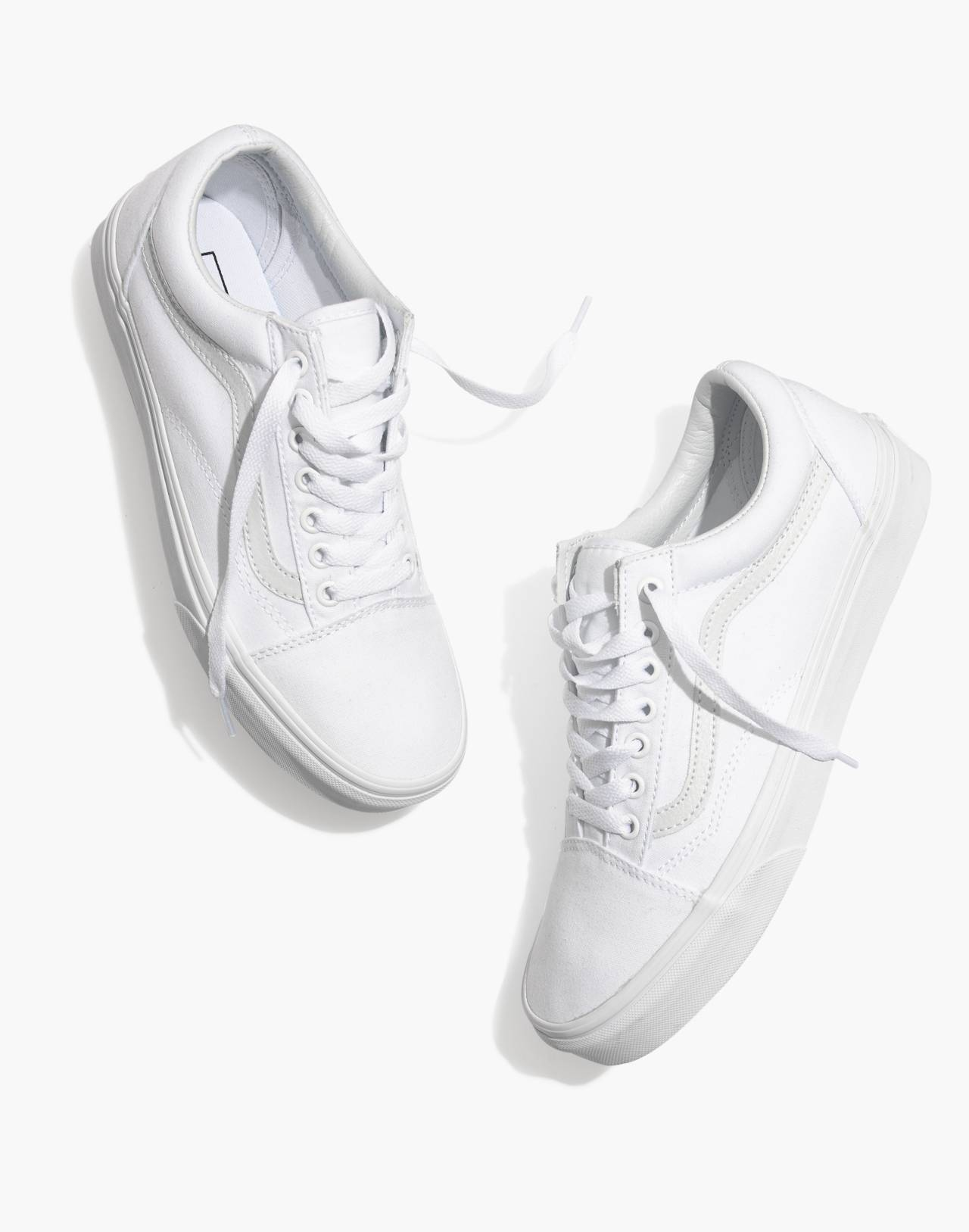 Vans® Unisex Old Skool Lace-Up Sneakers in Canvas and Suede in true white image 1