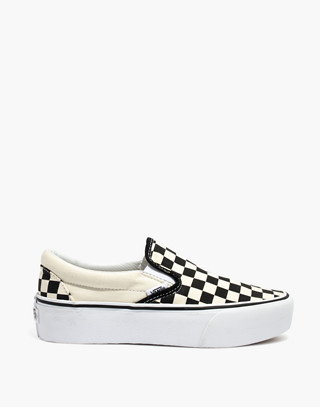 Vans® Unisex Classic Slip-On Platform Sneakers in Checkerboard Canvas in black white image 3