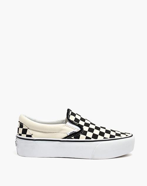 88d6683dfc Vans reg  Unisex Classic Slip-On Platform Sneakers in Checkerboard Canvas  in black white image