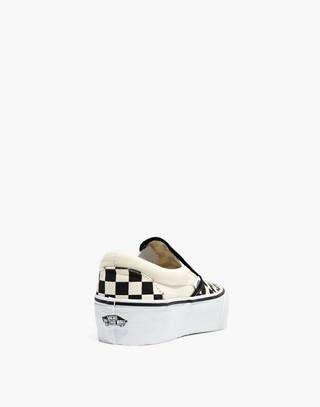 Vans® Unisex Classic Slip-On Platform Sneakers in Checkerboard Canvas in black white image 4