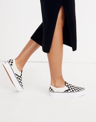 Vans® Unisex Classic Slip-On Platform Sneakers in Checkerboard Canvas in black white image 2