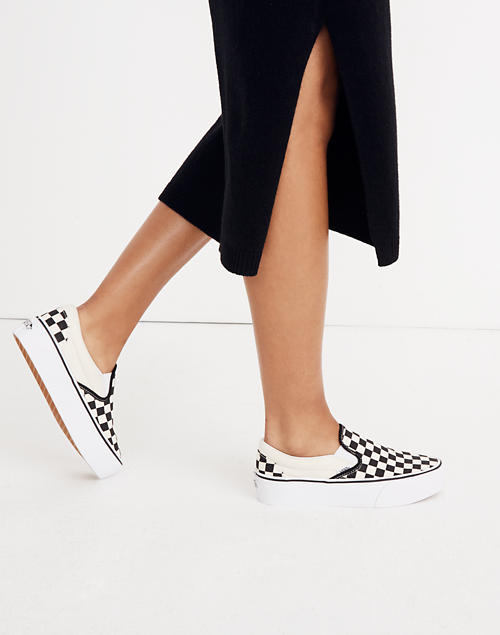 596029e10ef94 Vans® Unisex Classic Slip-On Platform Sneakers in Checkerboard Canvas  in black white image