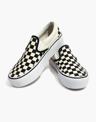 Vans® Unisex Classic Slip-On Platform Sneakers in Checkerboard Canvas in black white image 1