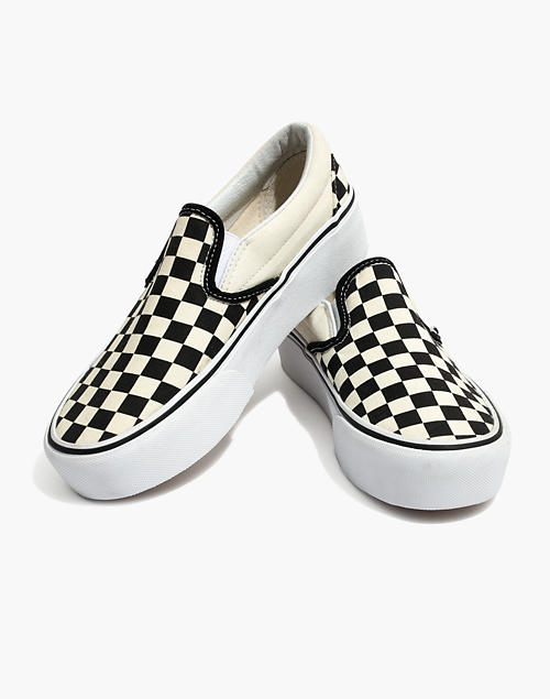 6e4ebedcce Vans reg  Unisex Classic Slip-On Platform Sneakers in Checkerboard Canvas  in black white image