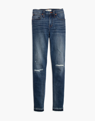 "9"" High-Rise Skinny Jeans in York Wash: Rip and Repair Edition in york wash image 4"