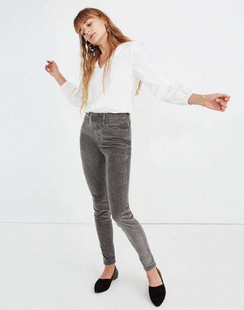 "10"" High-Rise Skinny Jeans: Corduroy Edition in smoked graphite image 2"