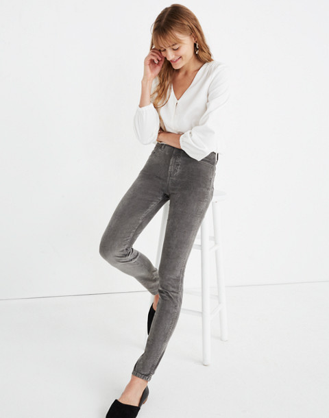 "10"" High-Rise Skinny Jeans: Corduroy Edition in smoked graphite image 1"