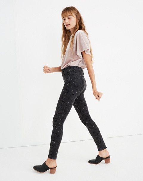 """10"""" High-Rise Skinny Jeans: Metallic Dot Edition in gold dots image 2"""