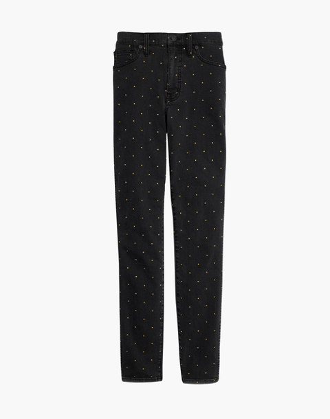 """10"""" High-Rise Skinny Jeans: Metallic Dot Edition in gold dots image 4"""