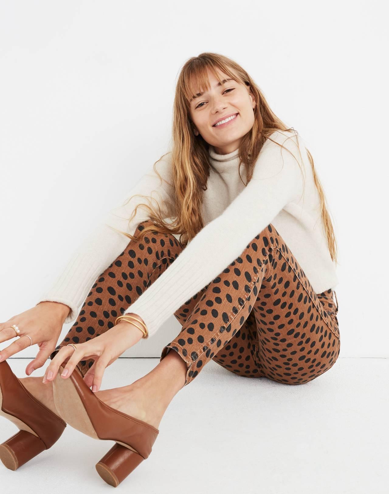 "10"" High-Rise Skinny Jeans in Leopard Dot in leopard dot image 2"