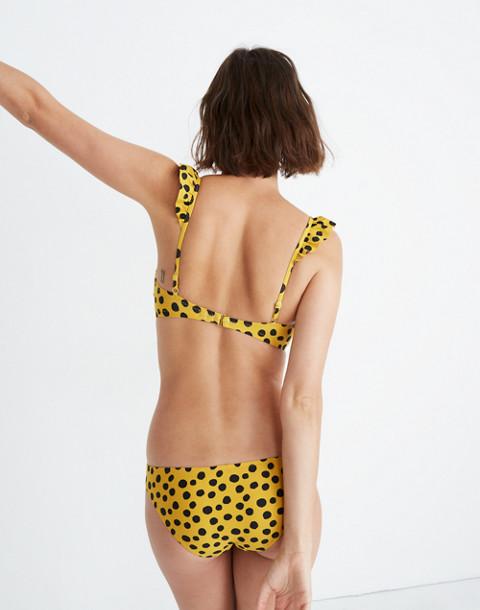 Madewell Ruffle Bikini Top in Leopard Dot in animal spot cumin image 3