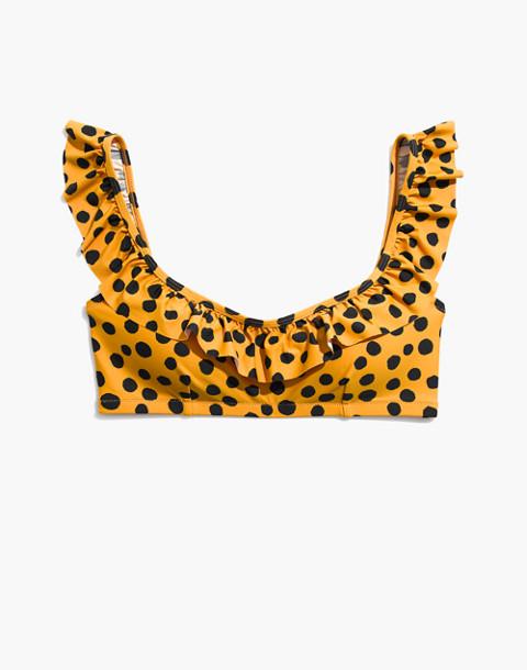 Madewell Ruffle Bikini Top in Leopard Dot in animal spot cumin image 4