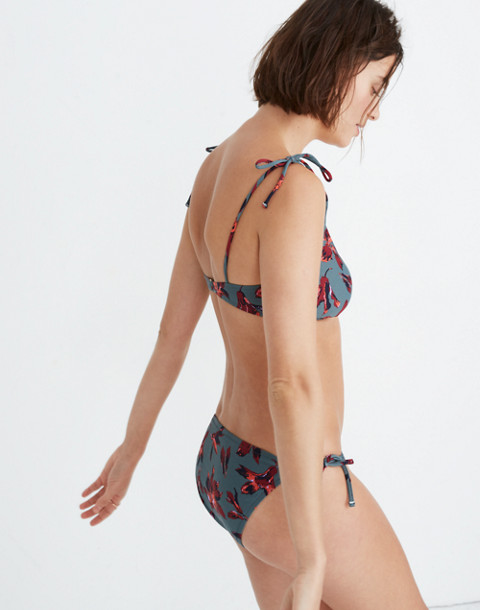 Madewell Shoulder-Tie French Bikini Top in Winter Orchid in brigette dusty burgundy image 2
