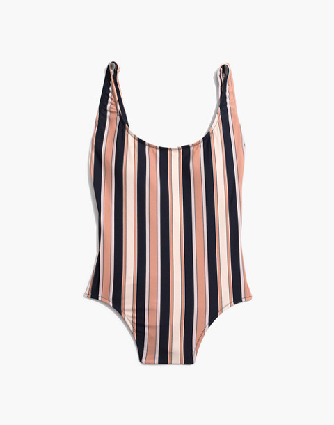 Madewell Plunging Scoopback One-Piece Swimsuit in Academy Stripe in december deep navy image 4