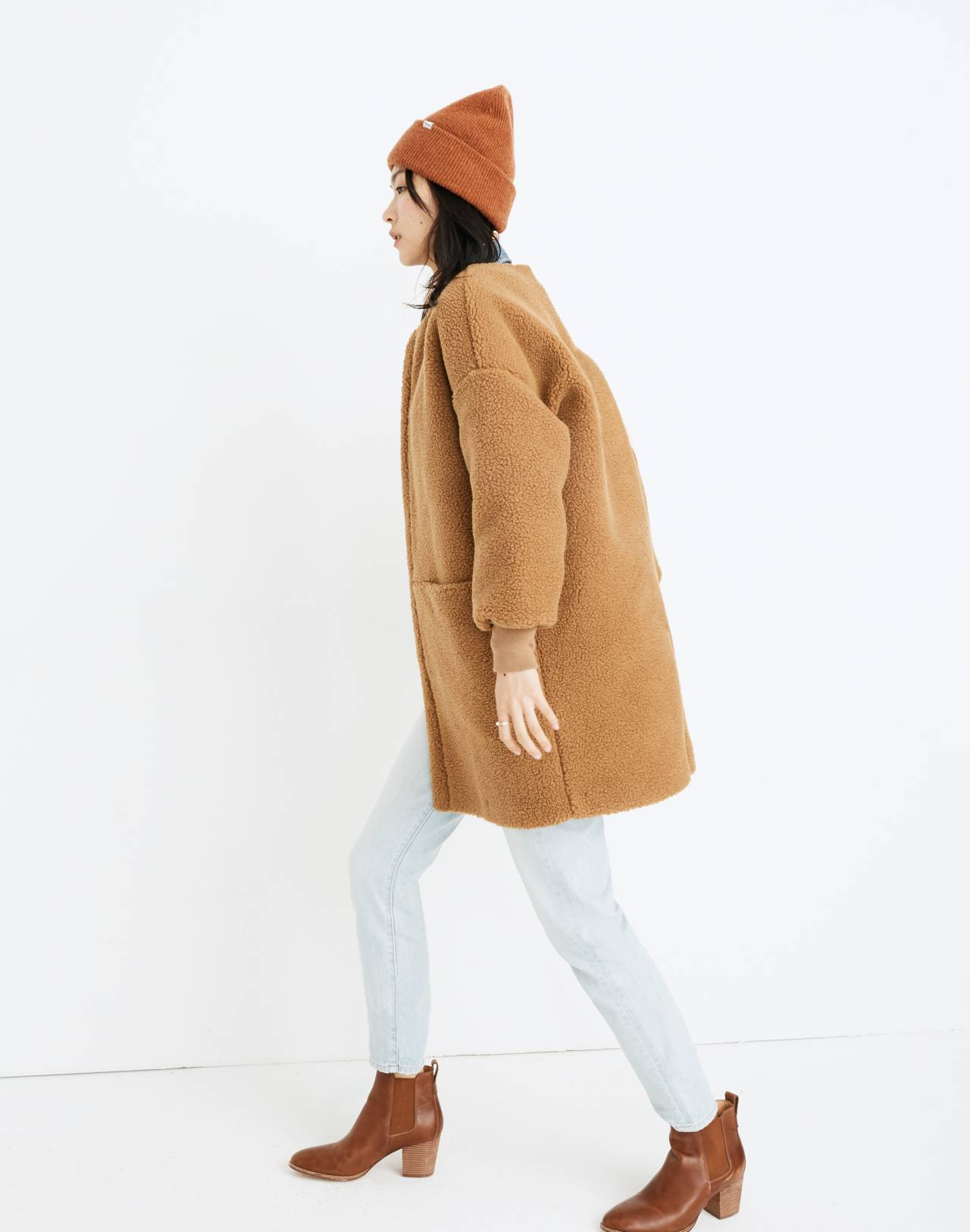 Bonded Sherpa Cocoon Coat in castle brown image 2
