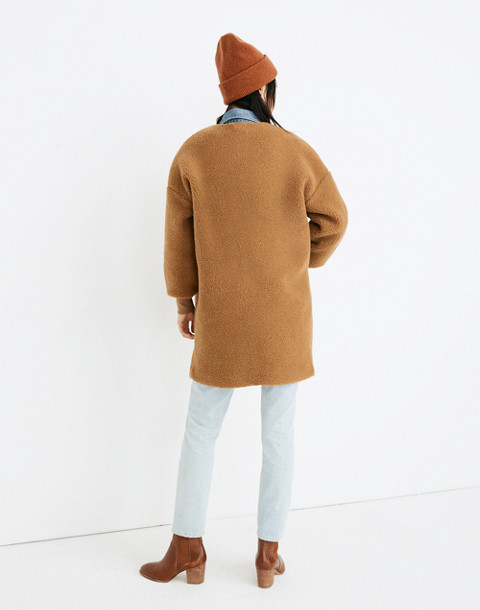 Bonded Sherpa Cocoon Coat in castle brown image 3