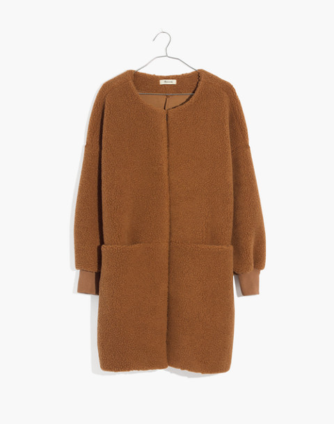 Bonded Sherpa Cocoon Coat in castle brown image 4