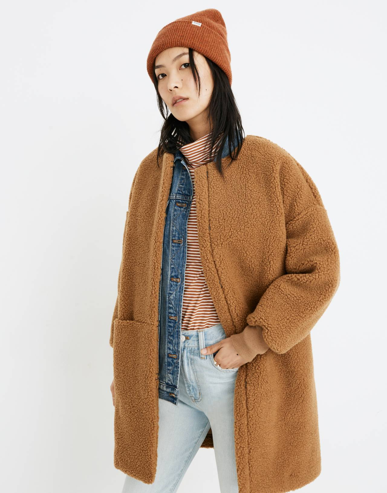 Bonded Sherpa Cocoon Coat in castle brown image 1