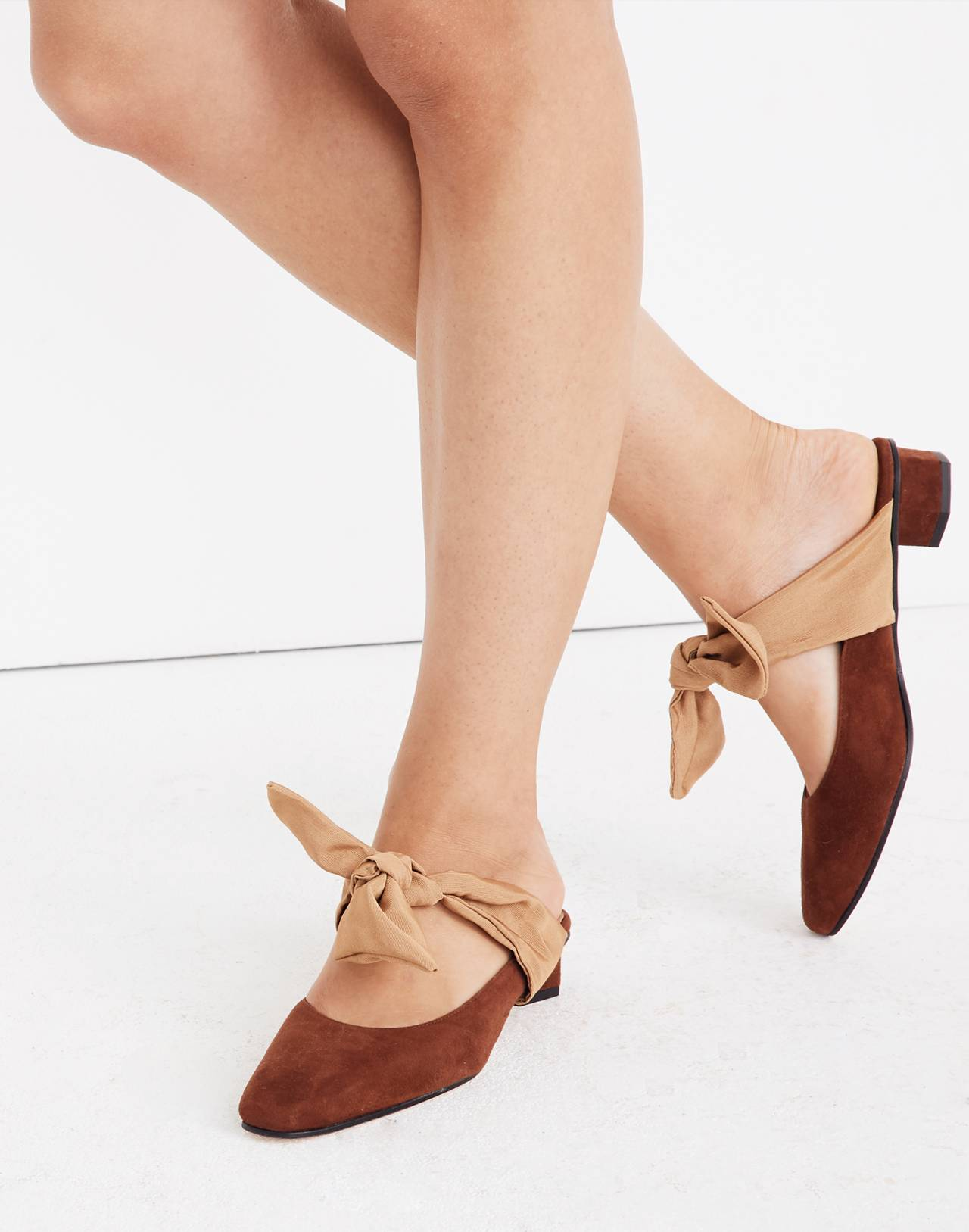 About Arianne Tina Suede Bow Mules in brandy image 2