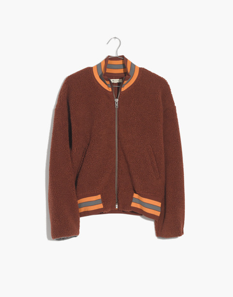 Sherpa Varsity Bomber Jacket in warm cinnamon image 1
