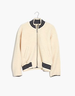Sherpa Varsity Bomber Jacket in antique cream image 4