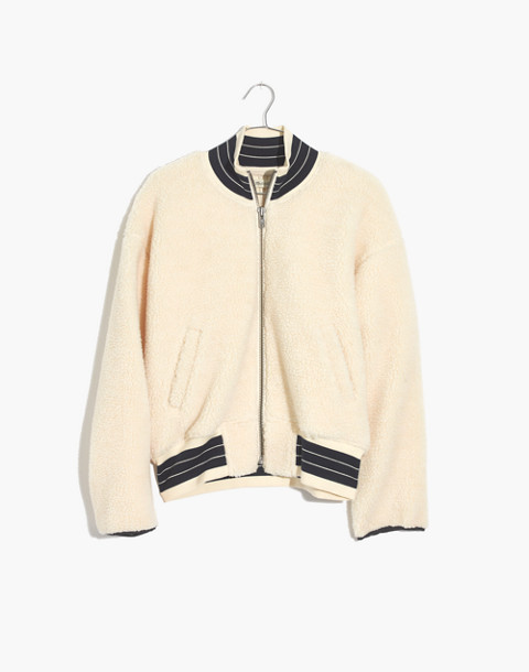 Sherpa Varsity Bomber Jacket in antique cream image 4