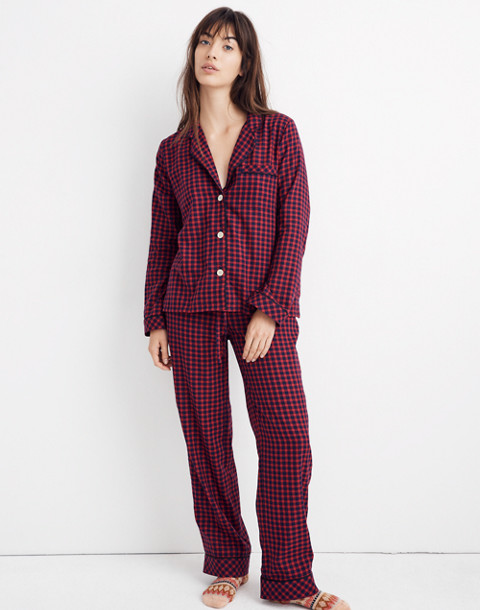 Bedtime Long-Sleeve Pajama Top in Gingham Check in cranberry shadow gingham image 2